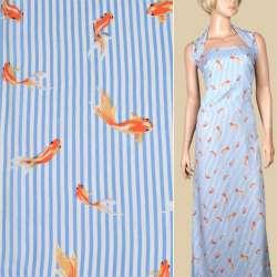 Вискоза белая в синюю полоску, оранжевые рыбки, ш.140