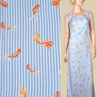 Вискоза белая в синюю полоску, оранжевые рыбки, ш.140 оптом