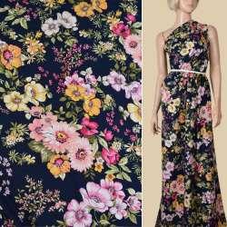 Вискоза синяя в розовые, желтые цветы, ш.140