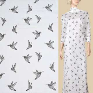 Вискоза белая, черные колибри, ш.135 оптом