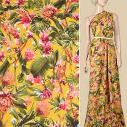 Вискоза желтая, розовые, оранжевые цветы, зеленые листья, ш.145