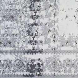 Вискоза белая в серые завитки (купон), ш.140 оптом