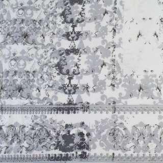 Віскоза біла в сірі завитки (купон), ш.140 оптом