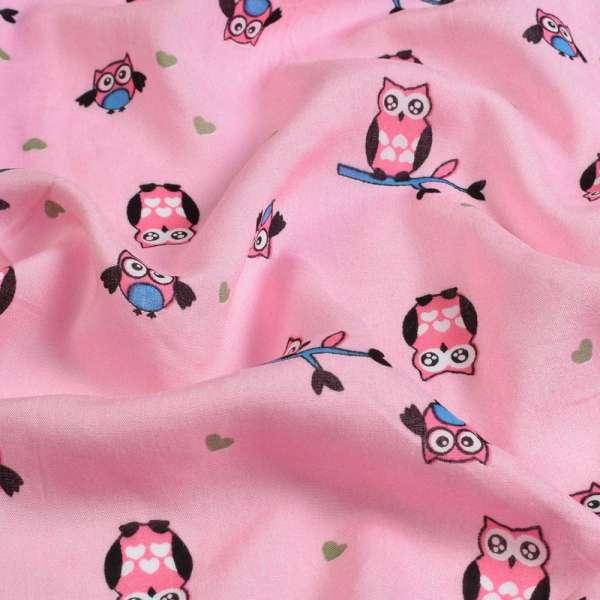 Вискоза розовая, розовые совы, ш.145 оптом