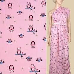 Вискоза розовая, розовые совы, ш.145