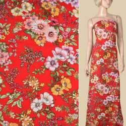 Вискоза красная в желтые, розовые вьющиеся цветы, ш.145