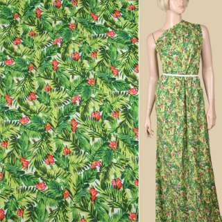 Вискоза белая, зеленые листья, розовые цветочки, ш.145 оптом
