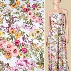Вискоза белая, розовые, желтые цветы, ш.145