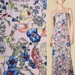 Вискоза розовая, синие, розовые вьющиеся цветы, ш.145