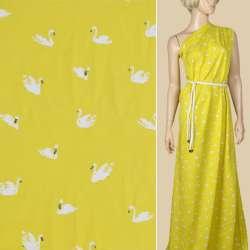 Вискоза желтая, белые лебеди, ш.140 оптом