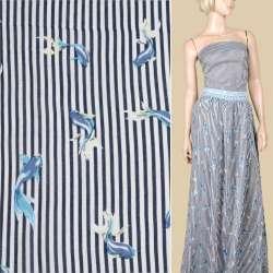 Вискоза белая в синюю полоску, голубые рыбки, ш.140