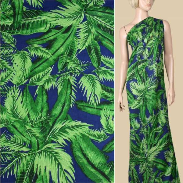 Вискоза синяя в большие зеленые листья, ш.145 оптом