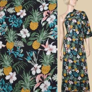 Вискоза черная, ананасы, белые цветы, ш.145 оптом