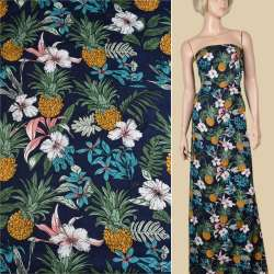 Вискоза синяя темная, ананасы, белые цветы, ш.140