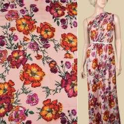 Вискоза розовая, желто-оранжевые цветы, ш.145