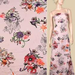 Вискоза розовая, лилии и ирисы, ш.145 оптом