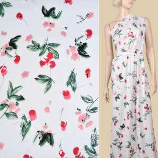 Віскоза біла, червоні вишні, рожеві квіти, ш.130 оптом