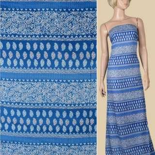 Вискоза синяя, белый орнамент (2сорт), ш.140 оптом