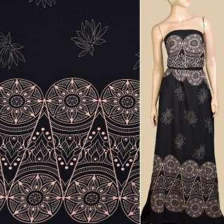 Вискоза черная, бежевый орнамент, цветы, 2ст.купон, ш.140 оптом