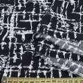 Вискоза черная в белый абстрактный рисунок, ш.139 оптом