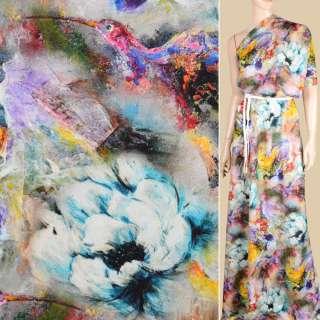 Вискоза разноцветная, акварельные цветы и птицы ш.146 оптом