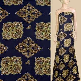 Вискоза синяя темная, коричнево-желтый орнамент, ш.145 оптом