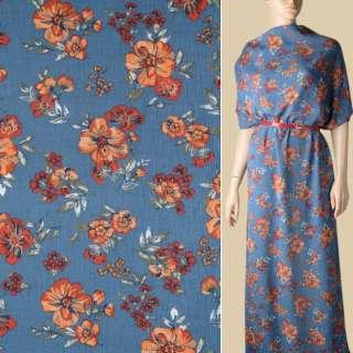Віскоза жата синьо-сіра, помаранчеві квіти, ш.140 оптом