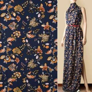 Віскоза жата синя темна, жовто-помаранчеві квіти, ш.140 оптом