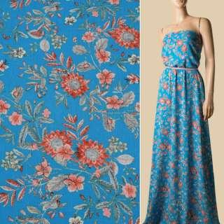 Віскоза жата блакитна, помаранчеві квіти, ш.135 оптом