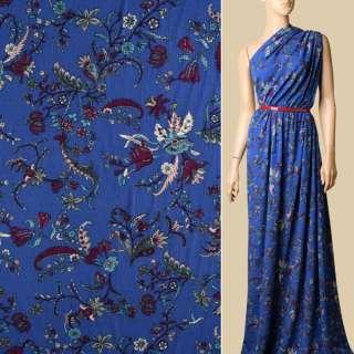 Віскоза синя, бордові, блакитні квіти, ш.135 оптом