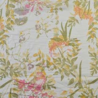 Вискоза белая, розовые цветы, зеленые листья (2сорт), ш.140 оптом