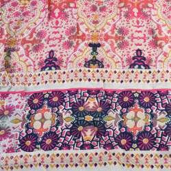 Вискоза белая, розовый орнамент (непрокрас) (2сорт), ш.145 оптом