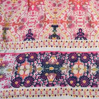 Віскоза біла, рожевий орнамент (непрокрас) (2сорт), ш.145 оптом
