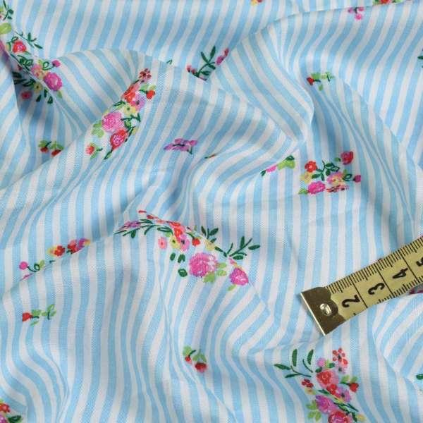 Вискоза белая в голубую полоску, розовые букеты (2сорт), ш.145 оптом