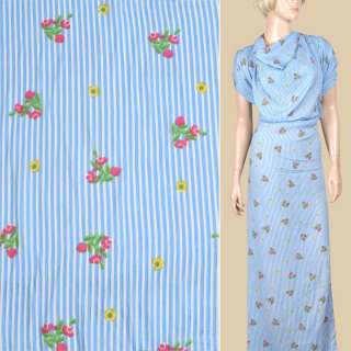 Вискоза белая в голубую полоску, розовые, желтые цветы (2сорт), ш.145 оптом