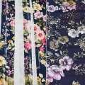 Вискоза синяя в розовые, желтые цветы (2сорт), ш.140 оптом
