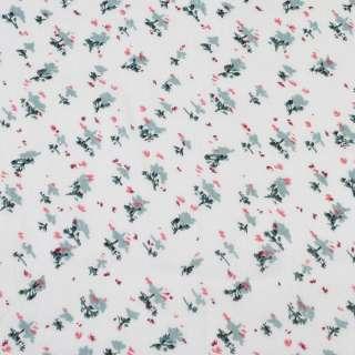 Віскоза біла, червоно-сірі дрібні квітки (2сорт), ш.140 оптом