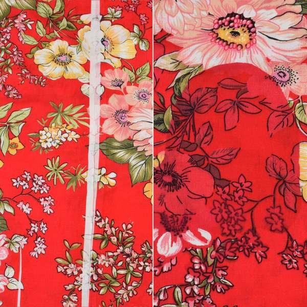 Вискоза красная в желтые, розовые вьющиеся цветы (2сорт), ш.145 оптом