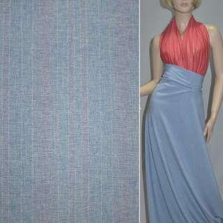 Габардин костюмный голубой в розовые полоски с люрексом, ш.150 оптом