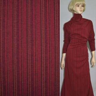 Габардин костюмный красный в черно-бежевую полоску со стежками, ш.150 оптом
