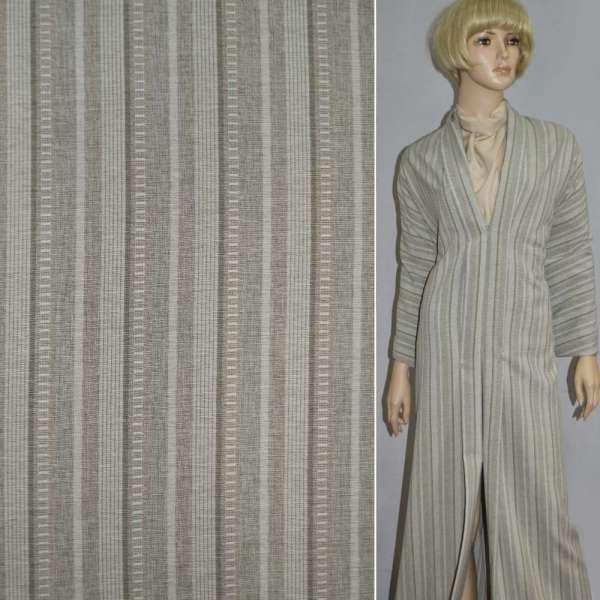 Габардин костюмный песочный в полоску со стежками, ш.150 оптом