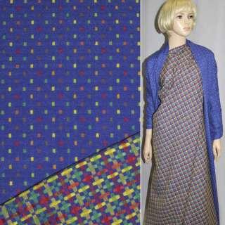 Ткань костюмная 2-ст. синяя в мелкие квадраты ш.147 оптом