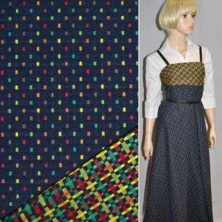 Ткань костюмная 2-ст. темно-синяя в мелкие квадраты ш.147 оптом