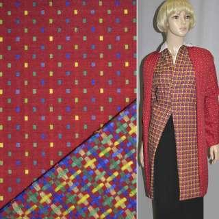 Ткань костюмная 2-ст. красная в мелкие квадраты ш.145 оптом