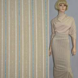 Ткань костюмная стрейч песочная в цветную полоску с люрексом