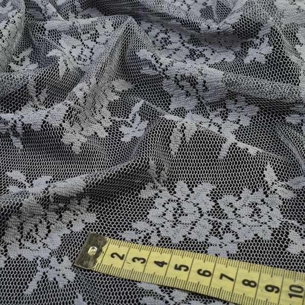 Кружевное полотно стрейч мелкие розочки серое, ш.150 оптом