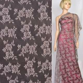 Мереживне полотно стрейч дрібні трояндочки попелясто-рожеве, ш.150 оптом