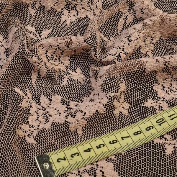 Кружевное полотно стрейч мелкие розочки бежевое, ш.150 оптом
