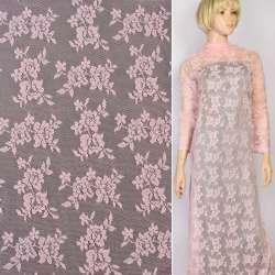 Кружевное полотно стрейч мелкие розочки розовое, ш.145 оптом
