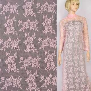 Мереживне полотно стрейч дрібні трояндочки рожеве, ш.145 оптом